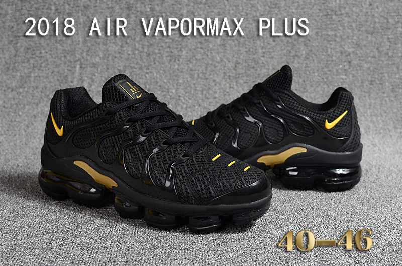 ff4c8f34098 Nike Air Vapor Max Plus TN TPU Running Shoes Hot Black Gold - Febbuy