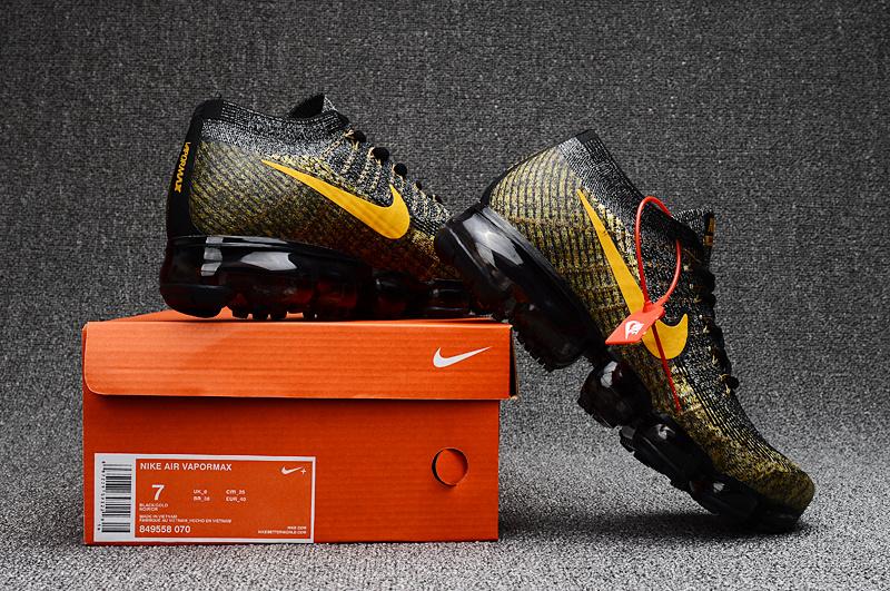 7eb39d7ffac2d Nike Air VaporMax 2018 black gold men Running Shoes 849558-070 - Febbuy