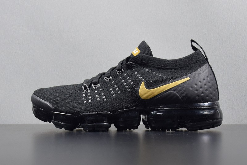 9c5452e398222 Nike Air VaporMax Flyknit 2.0 Black Gold Sneakers 942842-009 - Febbuy