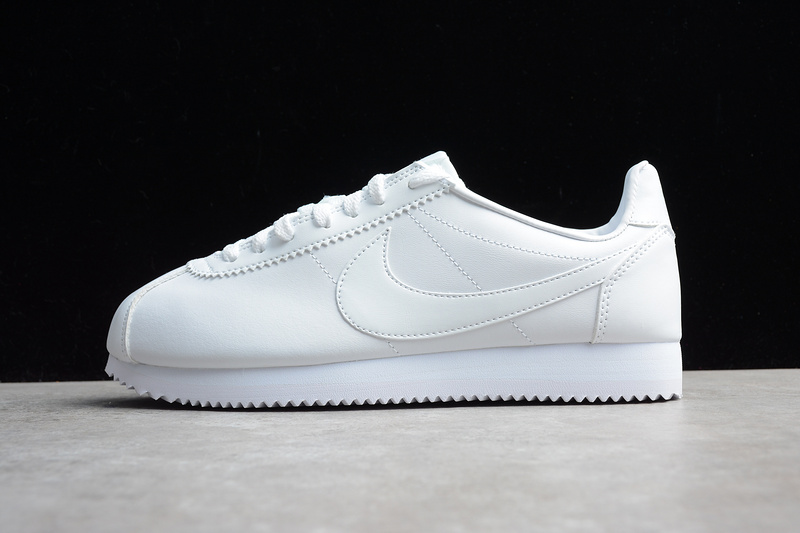 super popular 8c9dc 01ca4 Nike CLASSIC CORTEZ Leather Casual Shoes All White 808471-102 - Febbuy