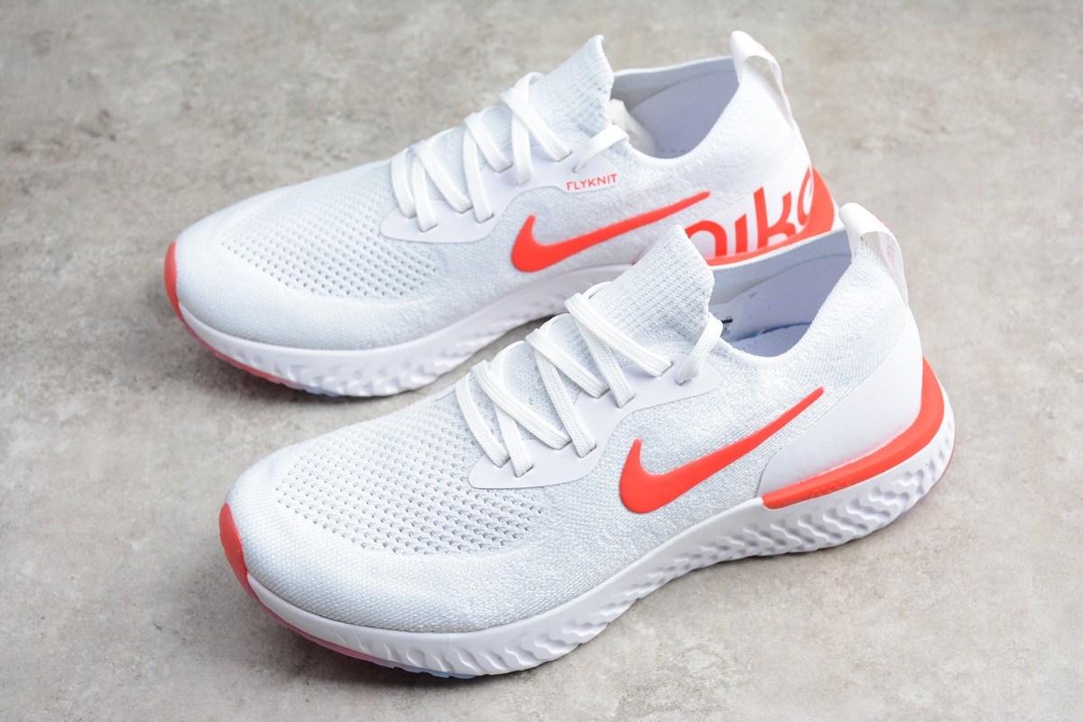 f8b90747a7411 Prev Nike EPIC React Flyknit Running Shoes White Orange AQ0067-800. Zoom