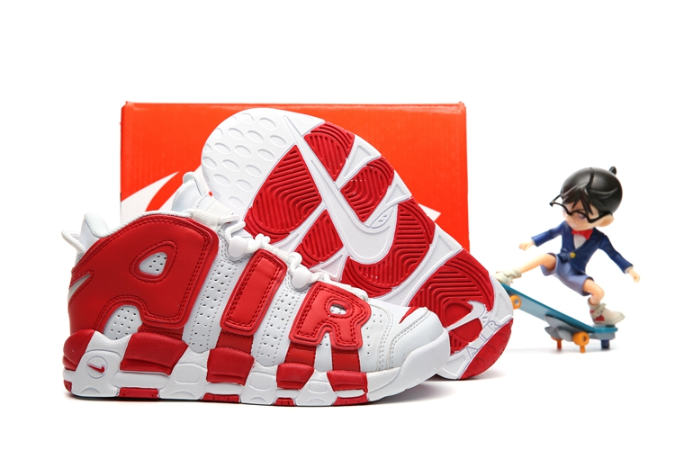 3194f57697 Nike Air More Uptempo Kid Shoes Red White Silver - Febbuy