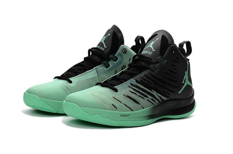 f6767bc150a0 Nike Jordan Super Fly 5 Black Green Glow Men Basketball Shoes 844677 ...