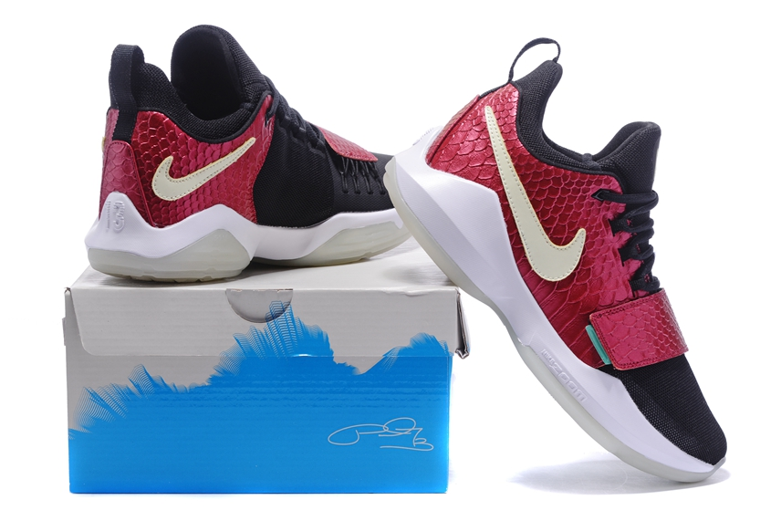 054d7fe7ec Nike Zoom PG 1 Paul George Men Basketball Shoes Rose Red Black White 878628