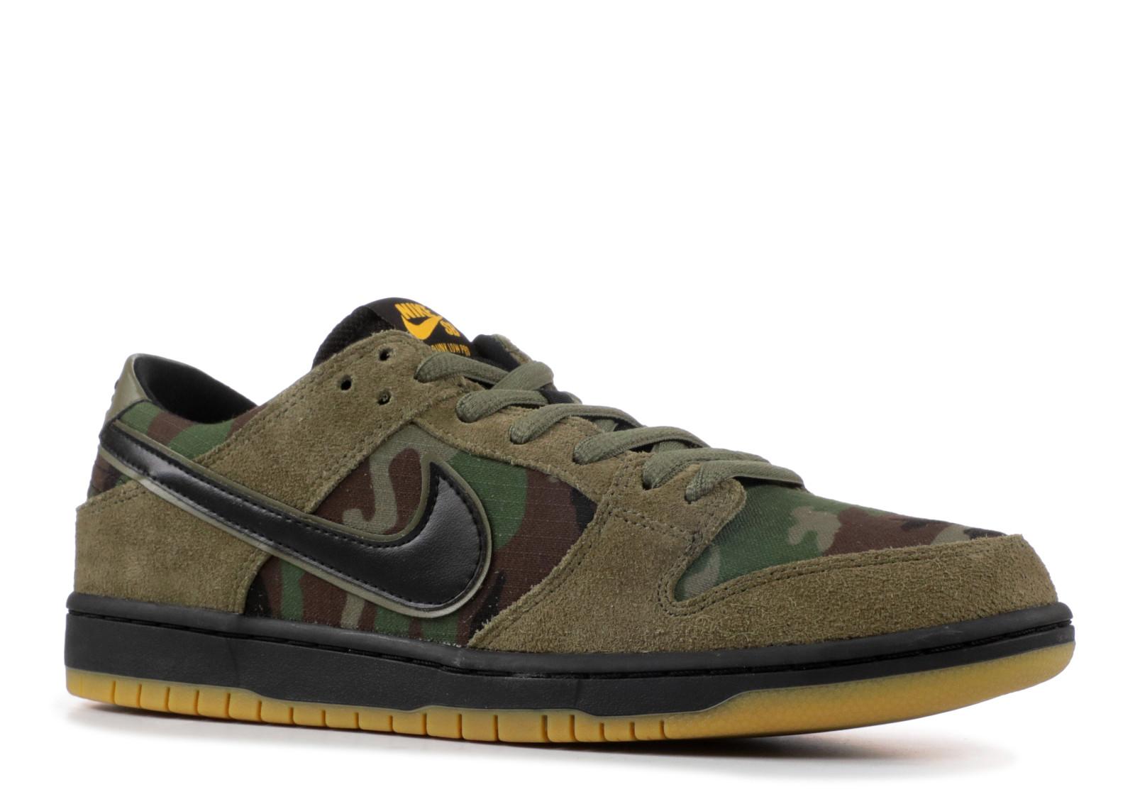 109943848b Nike SB Zoom Dunk Low Pro Camo Olive Medium Black 854866-209 - Febbuy