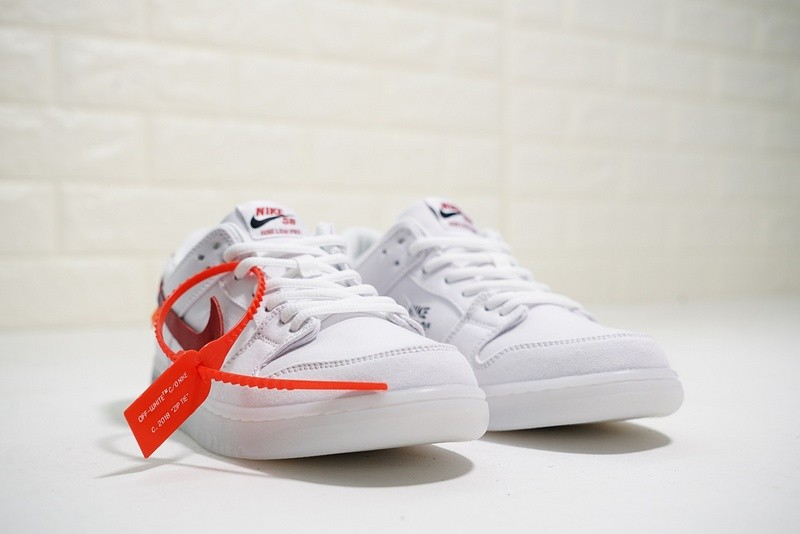 73d94170a9 Off White x Nike Dunk Low Pro SB Canvas White Red 854866-601 - Febbuy