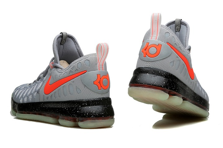 innovative design 35848 c1a5f ... Nike KD 9 Kevin Durant Men Basketball Shoes Grey Bright Orange Black  843392