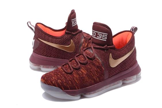 8c66ab84e7a2 Nike Zoom KD IX 9 EP Christmas Marroon Golden Men Shoes - Febbuy