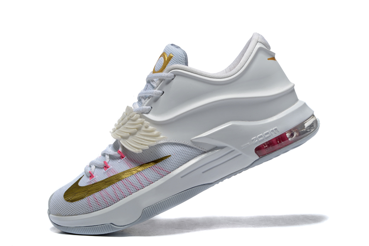 check out 9fa67 bf750 Nike KD VII 7 PRM Aunt Pearl 9 White Pink Gold Kay Yow Breast Cancer 706858  ...