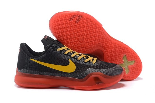 cd06738ce4a2 Nike Kobe 10 X EP Low Black Yellow Red Men Basketball Shoes 745334 ...