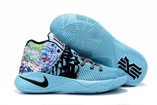 578b2df23143c9 Nike Kyrie II 2 Tie Dye Effect Light Blue Black Multi Color Shoes ...
