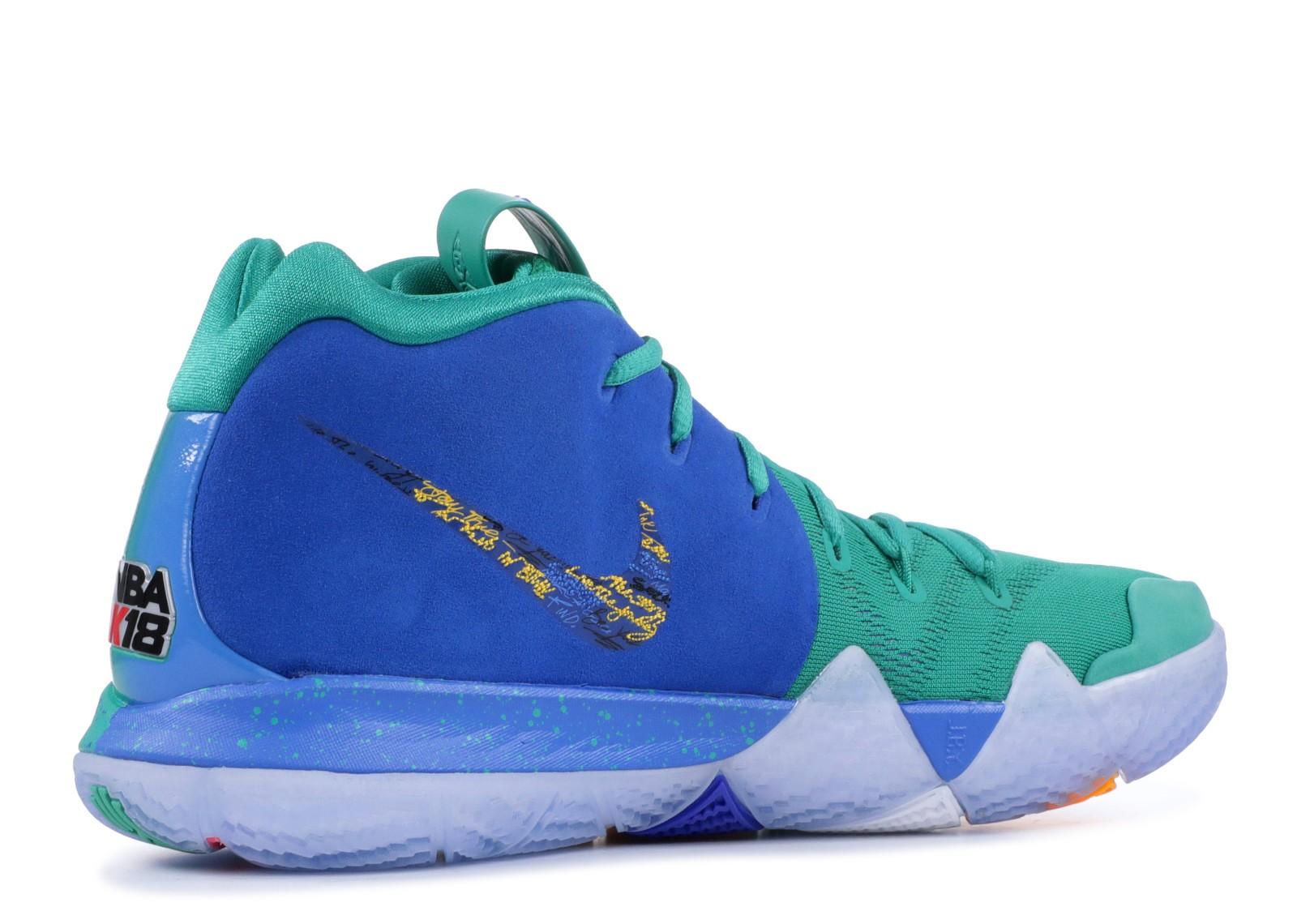 05a28565e416 ... Kyrie 4 NBA 2k18 Friends And Family University Green Blue 860844-868 ...