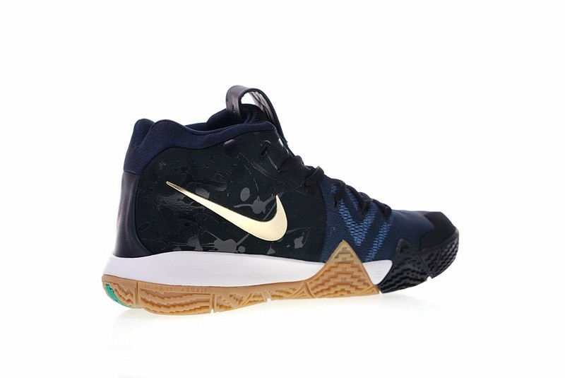 Nike Kyrie 4 Pitch Blue Metallic Gold Basketball Shoes 943807-403 ... 3709f82b8