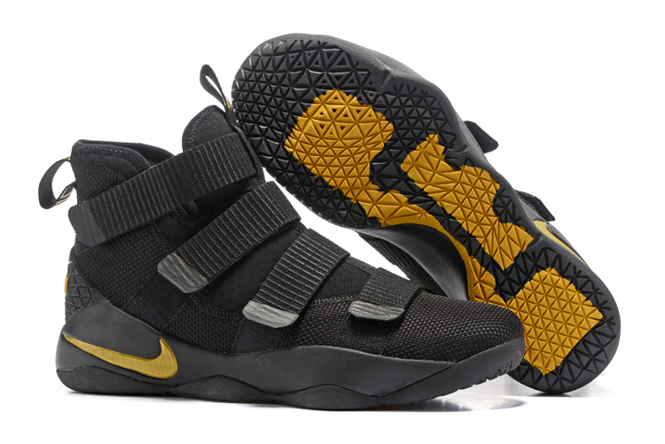 60d6bc12fc4 Nike Zoom LeBron Soldier XI 11 Black Yellow Men Basketball Shoes ...
