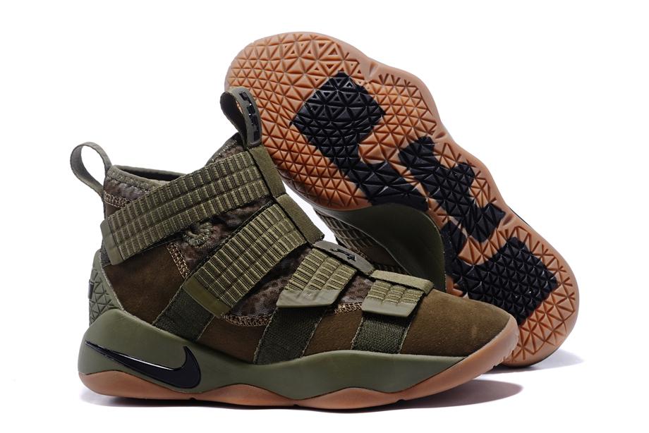 1e946d412f4 Nike Zoom LeBron Soldier XI 11 Men Basketball Shoes Camo Green Brown ...