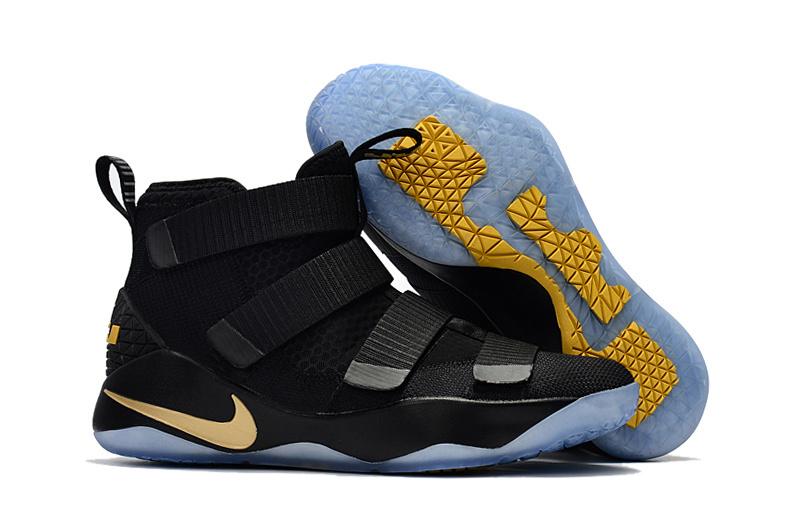 abbe1d16c57 Nike Zoom Lebron Soldiers XI 11 black gold Youth Big Kid Shoes - Febbuy