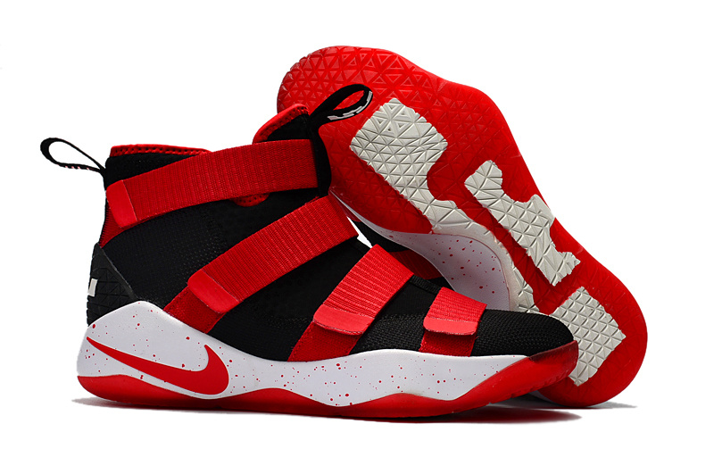 274bf62b97e Nike Zoom Lebron Soldiers XI 11 black red white Men Basketball Shoes ...