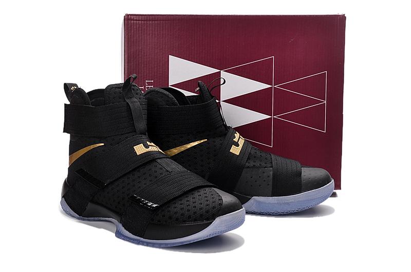 cc95ea046e20c ... Nike Lebron Soldier 10 X MVP Gold Black Chanmpionship Basketball Shoes  Men Sneaker 844378 ...
