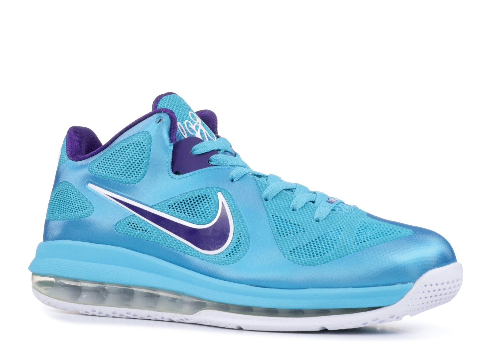77e86e7ab7cf Lebron 9 Low Summit Lake Hornets Blue Purple Turquoise White Crt 510811-400  ...