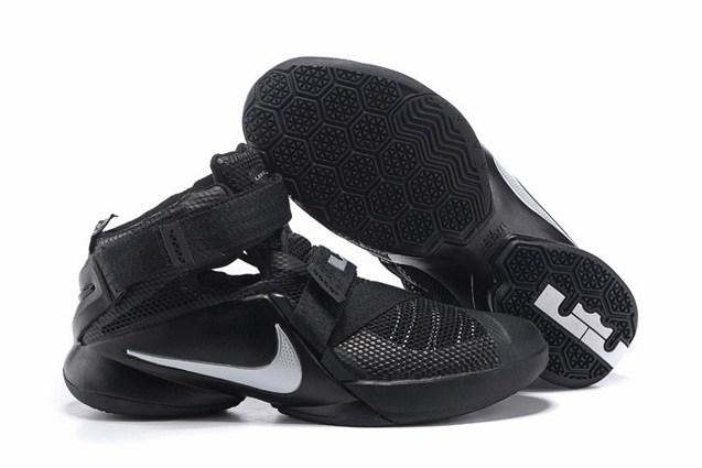 separation shoes 1c0dc cb2b2 Nike Lebron Soldier IX 9 Black Metallic Silver Men Basketball Shoes  749417-001