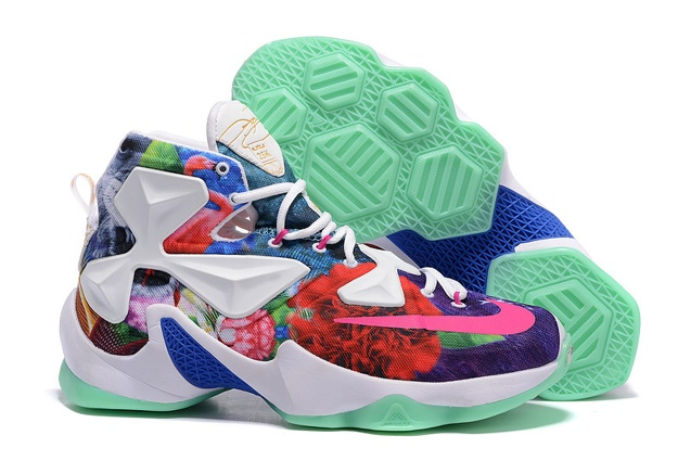 e8c503da653 Nike LeBron 13 EP NikeId 25K White Flower Multi Color Basketball ...