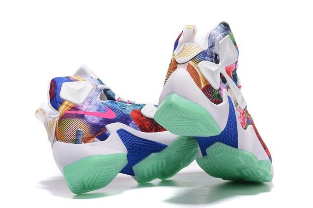 37b6ba68c4 ... Nike LeBron 13 EP NikeId 25K White Flower Multi Color Basketball Shoes  823301