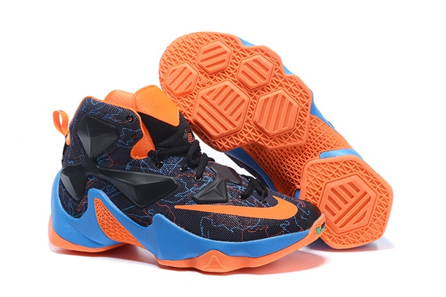 c7aced09e174 Nike Lebron XIII LBJ13 Black Blue Orange Men Basketball Shoes 835659 ...