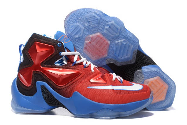 Nike Lebron XIII LBJ13 Blue Red Captain America Men Basketball Shoes ... c5cd7a564241