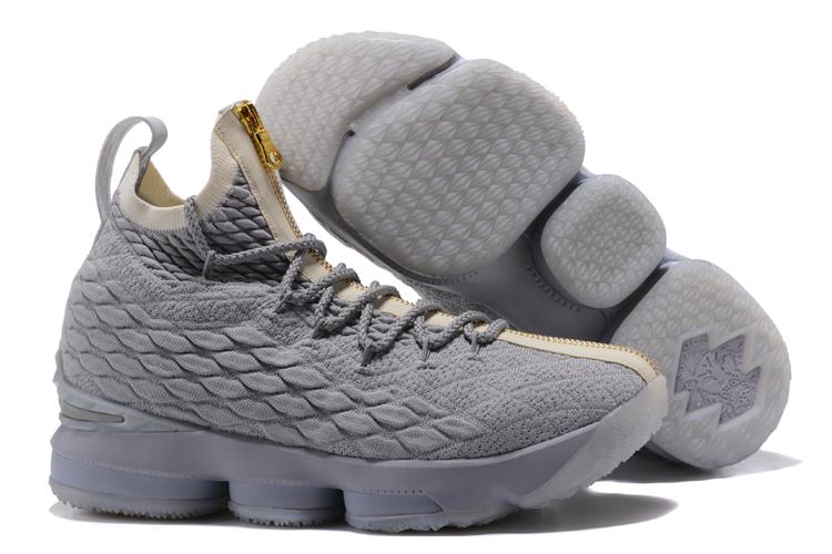 3794fd5467e Nike Lebron XV 15 City Edition Wolf Grey Gold 897648-005 - Febbuy