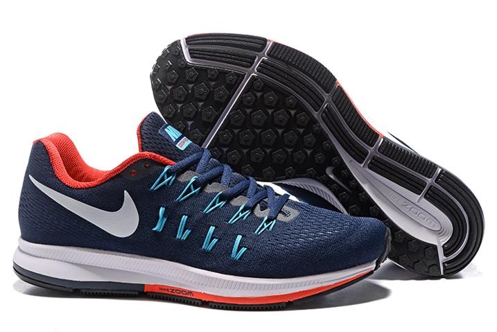 Nike Air Zoom Pegasus 33 Men Running Shoes Dark Blue Red White 831352