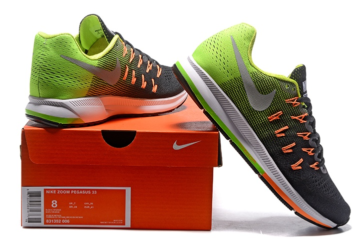 finest selection 901e5 02df0 ... Nike Air Zoom Pegasus 33 Men Running Shoes Green Black Silver  831352-006 ...