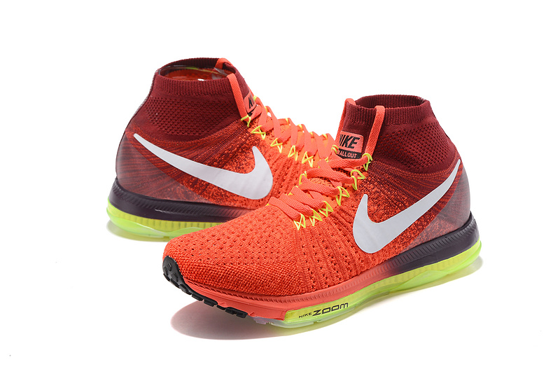 Nike Zoom All Out Flyknit Light Red Spring Green Men Running Shoes Sneakers  Trainers 844134-616