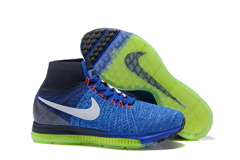new product 8e8a1 4c61c Prev Nike Zoom All Out Flyknit Navy Blue Spring Green Men Running Shoes  Sneakers Trainers 844134-. Zoom
