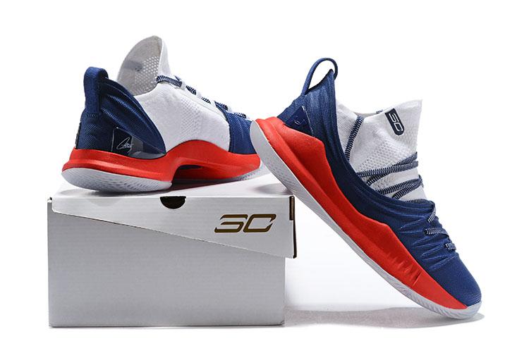 best service 0bf9f 2e999 Under Armour UA Curry V 5 Men Basketball Shoes New Deep Blue Red