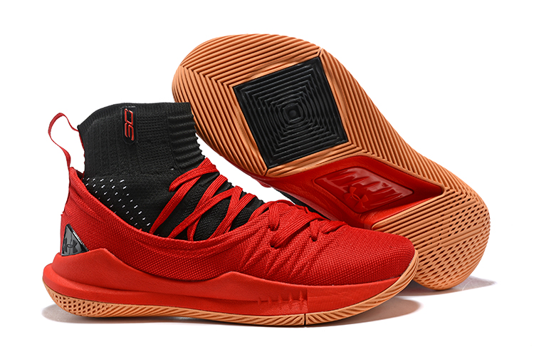 867084d5dcdf Under Armour UA Curry V 5 High Men Basketball Shoes Red Black - Febbuy